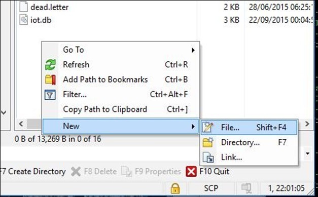 WinSCP creating a file