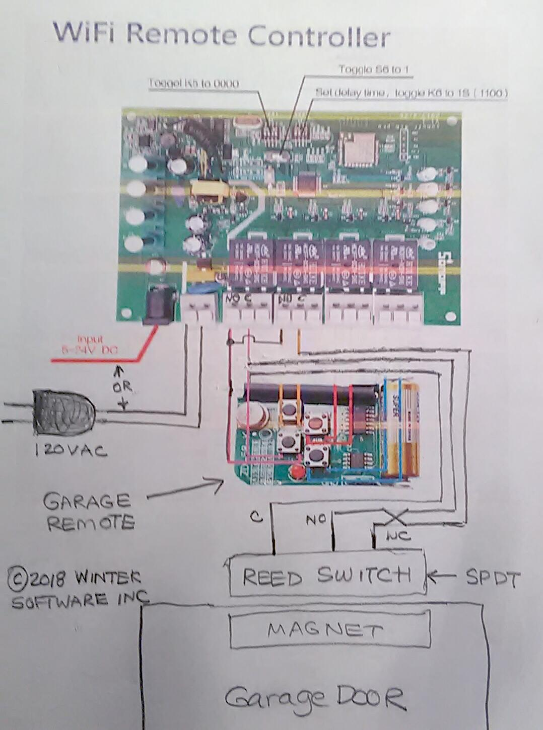 The Sonoff 4ch Pro Scargills Tech Blog Magnetic Reed Switch Wiring Diagram Remember This Drawing Only Shows One Door If You Want To Control Two Doors Repeat Circuit For Other And Connect Relay 3 4
