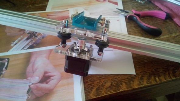 Completed laser/motor assembly minus laser