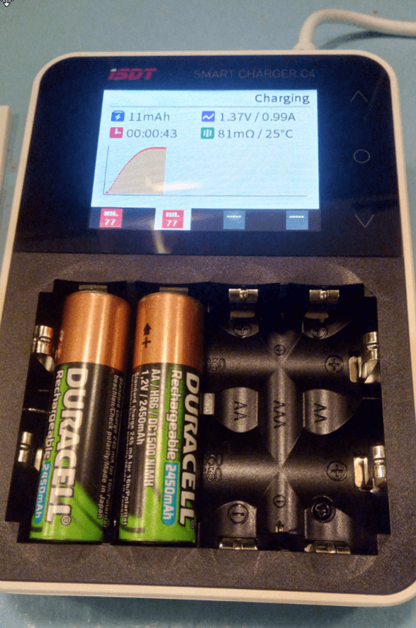 C4 charging 2 batteries - handles up to 4
