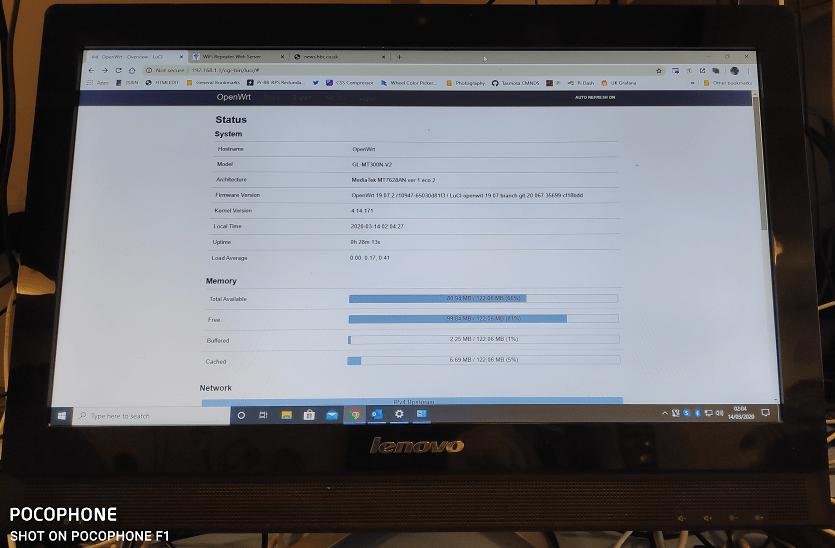 Openwrt displayed on Lenovo