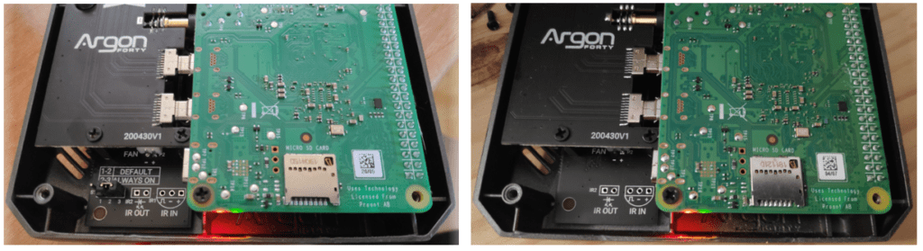 Two variations of the Argon ONE case for Raspberry Pi4