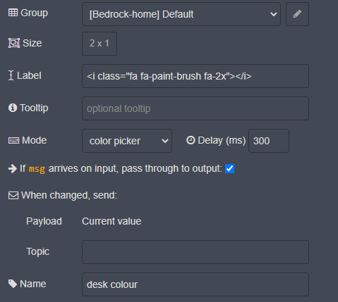 Node-Red Dashboard text input node for RGB control