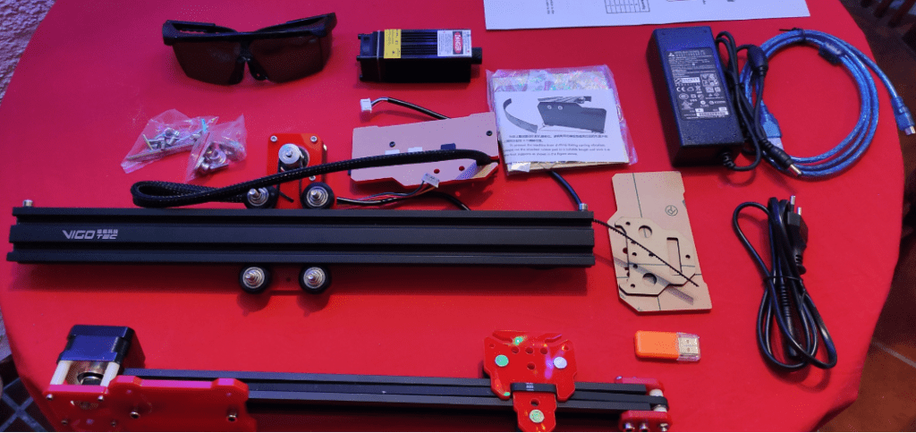 All the parts for the Laser engraver including the 20W laser itself