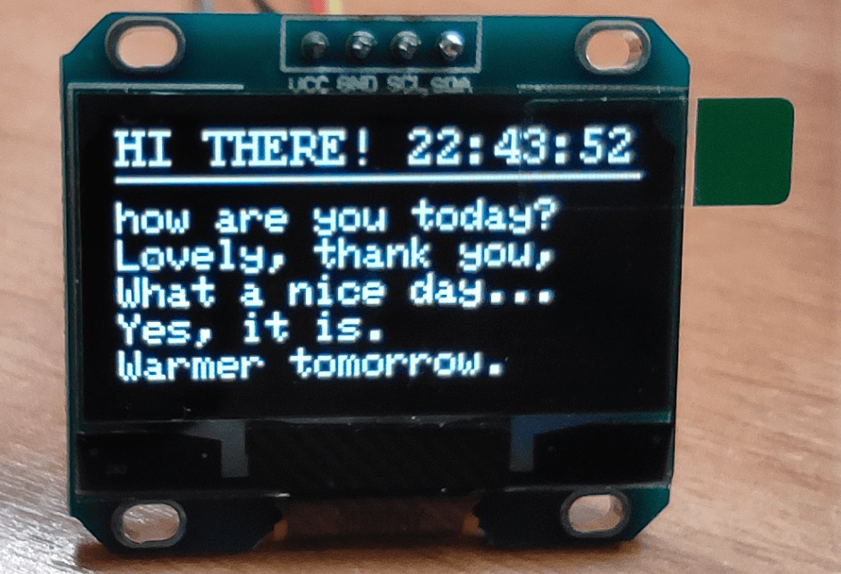 OLED text and horizontal line
