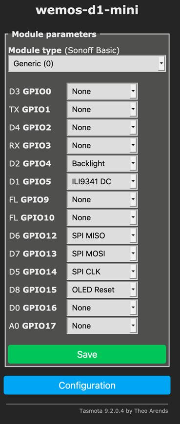 Feb 2021 onwards - ILI9341 wiring for Tasmota.