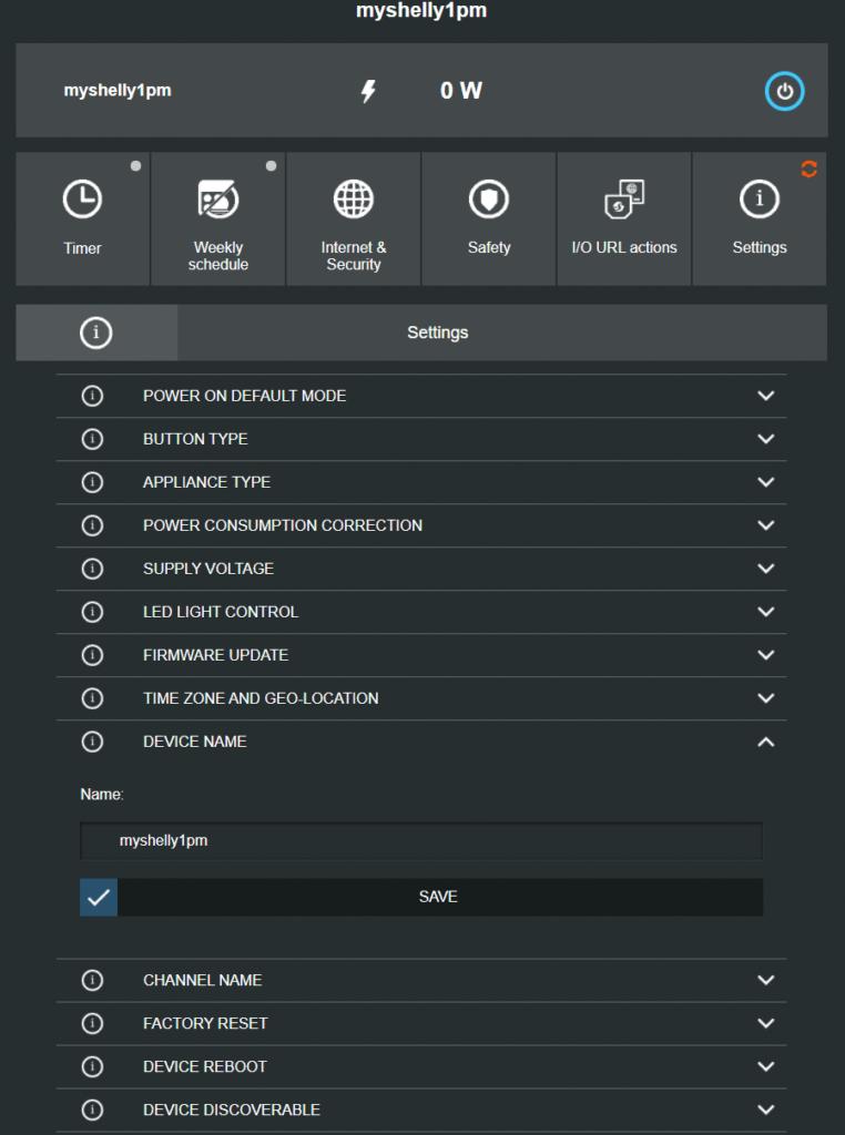 Shelly 1PM Web Interface