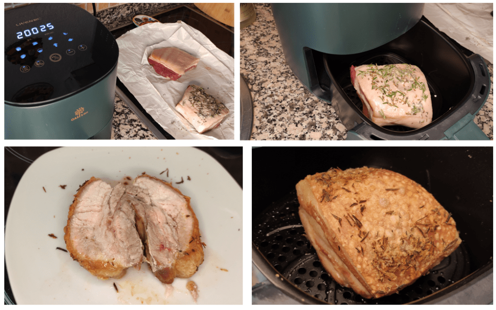Belly Pork cooked in the Liven G-5 Air Fryer