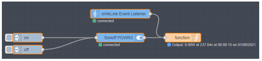 Node-red flow for control of and monitoring of the POWR3
