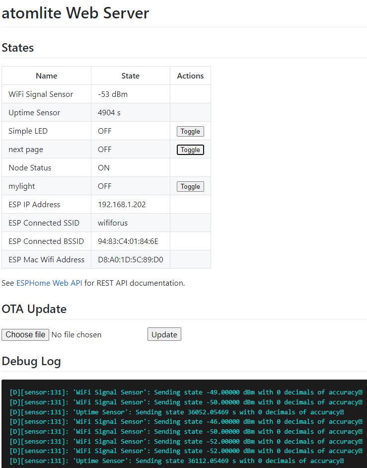 Atom Lite ESPHOME code