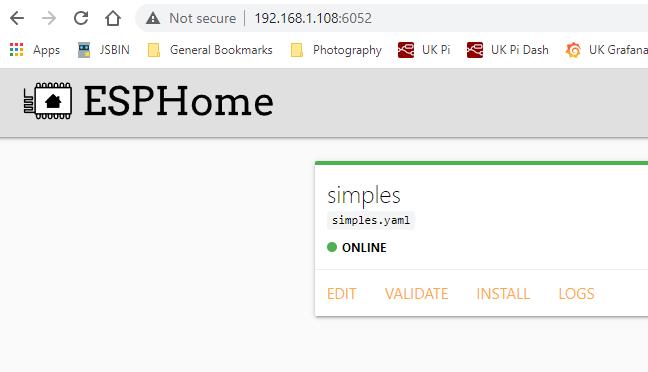 ESPHOME Dashboard on RPi4